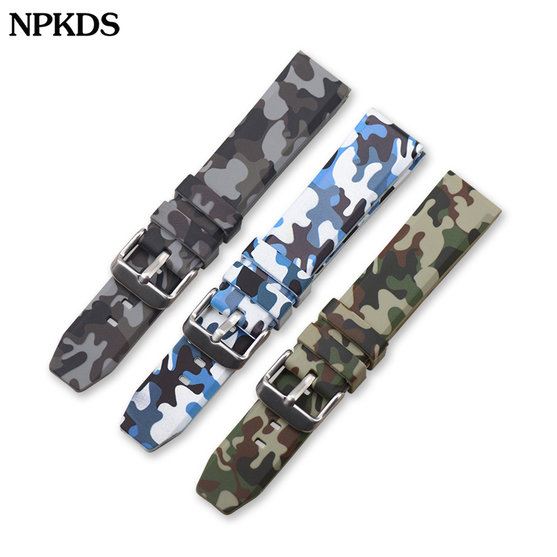20mm 22mm 24mm Silicone Watchband Sports Camo Printed Rubber Waterproof Replacement Bracelet Band Strap Watch Accessories
