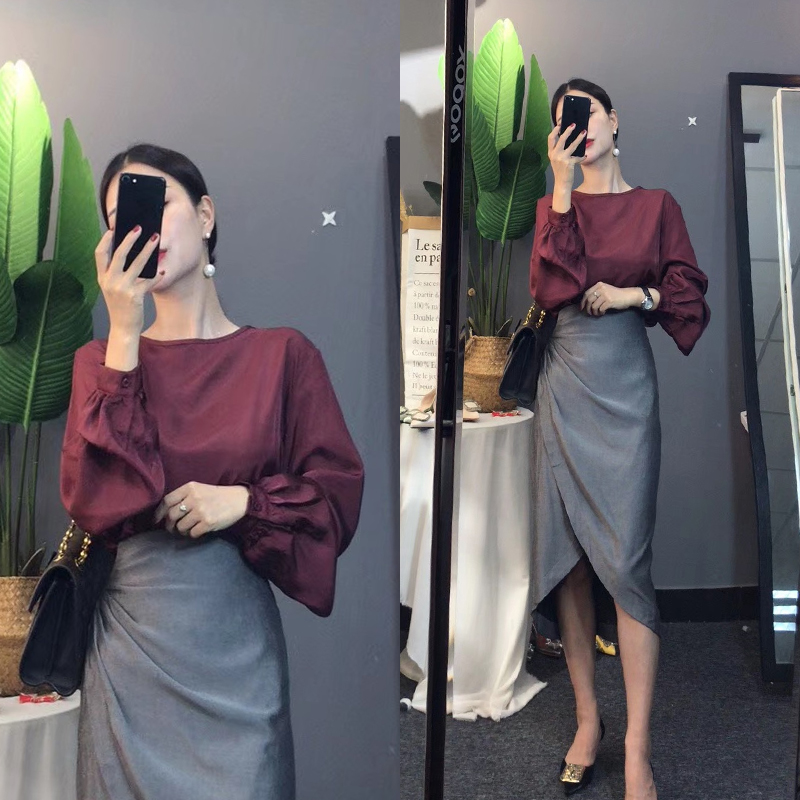 Women Elegant Clothing Set Skirt Set Loose Long Lantern Sleeve Blouse Tops And Ruffles Irregular Cut Sexy Skirts Suits NS998
