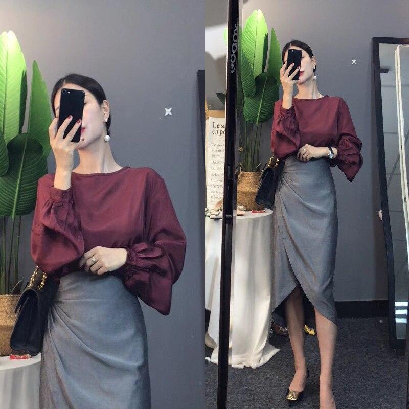 Women Elegant Clothing Set Skirt Set Loose Long Lantern Sleeve Blouse Tops And Ruffles Irregular Cut Sexy Skirts Suits NS998