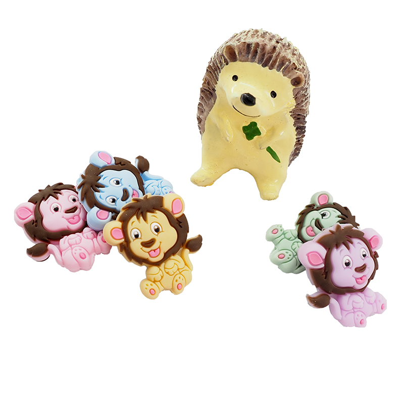 Chenkai 10PCS Lion Shaped Silicone Beads Baby Animal Cartoon Beads Teether For Making Toddlers Soothing Charm Jewelry Chain Gift