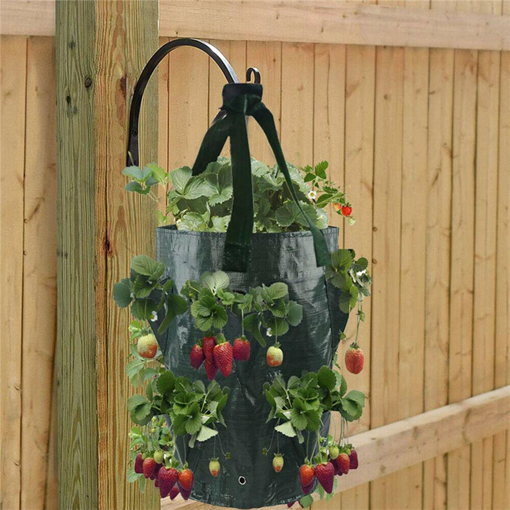 Garden Outdoor Planting Grow Bag Strawberry Vertical Flower Herb  Root Breathable Vegetable Round Reusable Pot Planter
