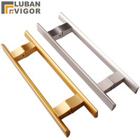 So beautiful  Solid Space Aluminum Glass Door Handle never rust black  gold color for glass door or wood door bathroom hardware Door Handles     -