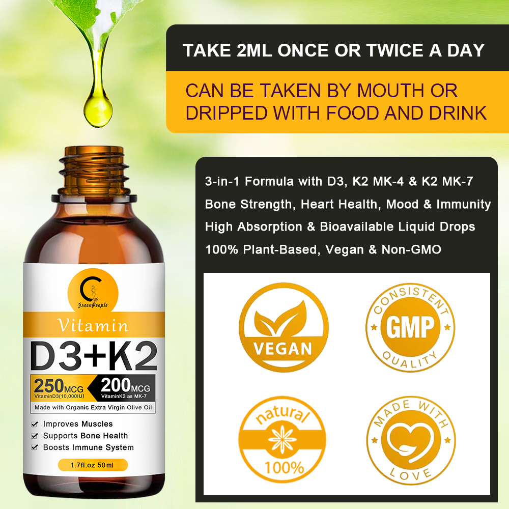 Organic Vitamin D3 K2 Liquid Drops Vegan Essential Supplements Nutro Vegan 2