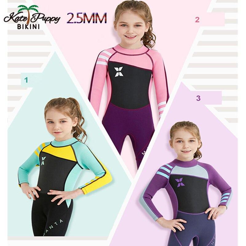 2.5mm néoprène enfants une pièce combinaison de Surf à manches longues combinaison à la dérive combinaison de plongée combinaison de plongée à séchage rapide maillot de bain