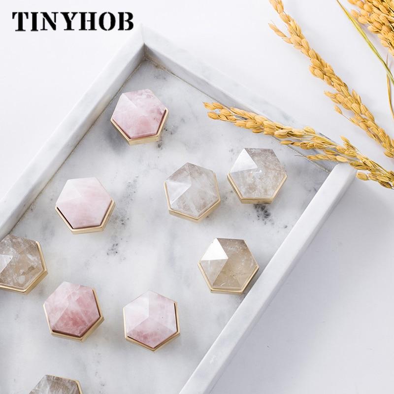 Hexagon Shape/crystal+brass Knob Dresser Drawer Knobs Pulls/ Wine Cooler Rose Quarts Knobs Furniture  Handle Pull Hardware