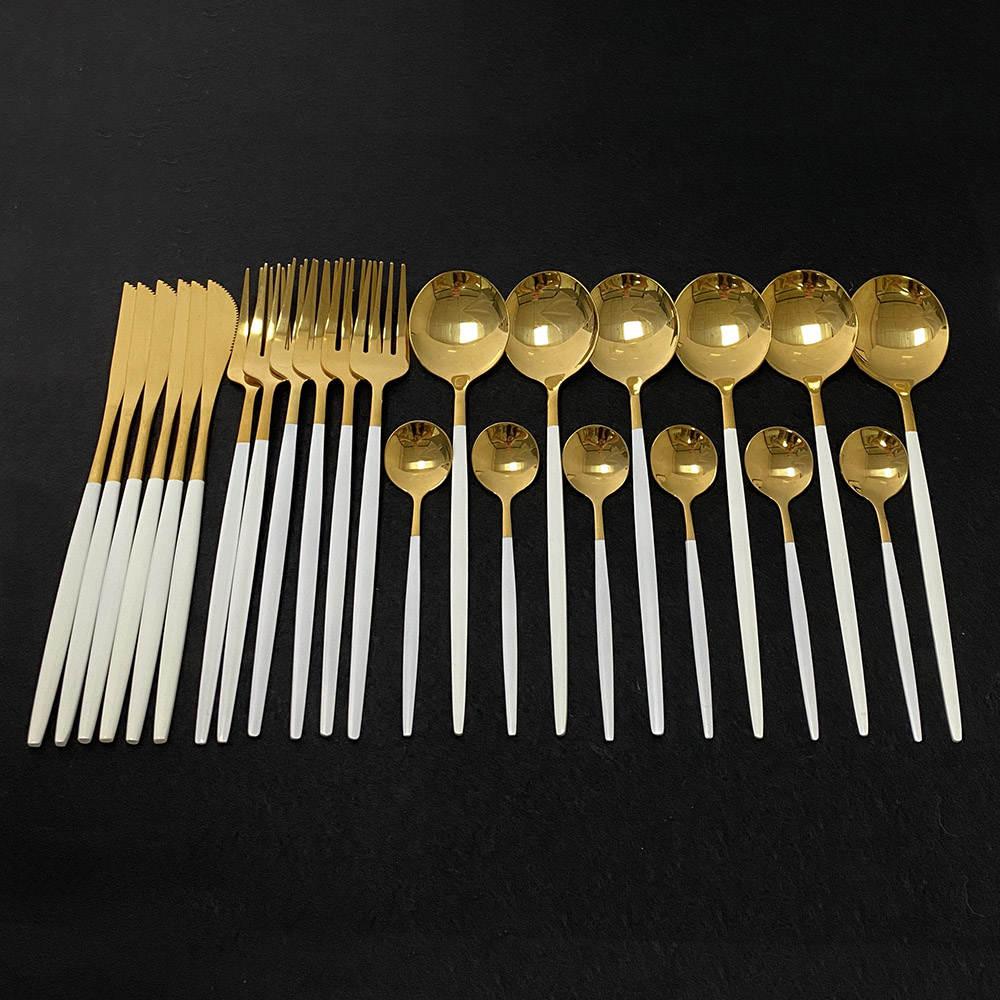 24 шт. столовый набор для кухни из белого золота, набор посуды из нержавеющей стали, набор посуды, нож, вилка, обеденная ложка, набор посуды