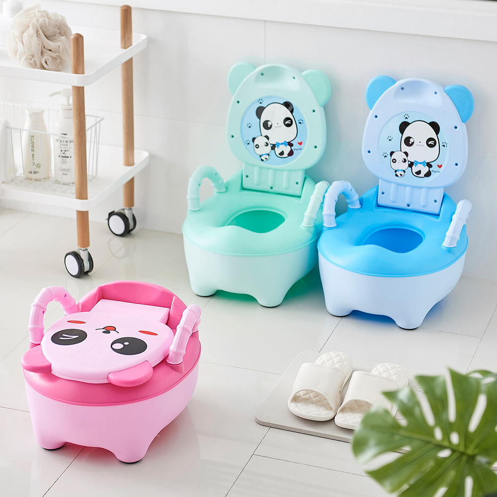 Baby Potty Toilet Bowl Training Pan Toilet Seat Kids Bedpan Portable Urinal Comfortable Backrest Cartoon Cute Potchildren's Pot