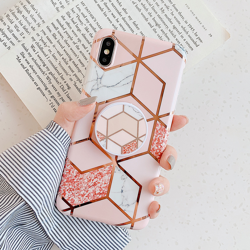 LOVECOM Electroplated Marble Phone Case For Huawei P20 P30 Pro Lite Mate 20 30Pro Lite Kickstand Folded Flexible Soft Back Cover(China)