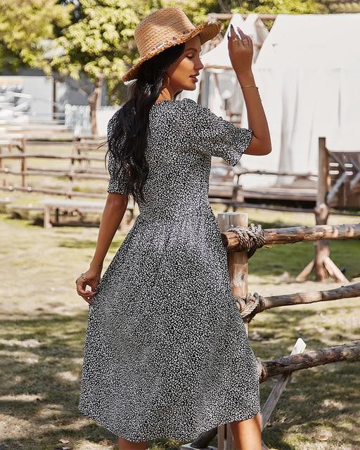 Deenor Women Summer Beach Chiffon Dress Casual Short Sleeve Polka Dot Dress Boho Party Dress Elegant V Neck Sundress Vestidos 3
