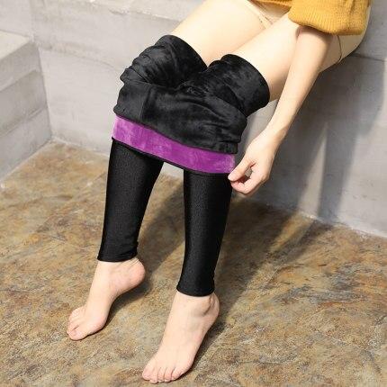 AOSHENG Autumn Winter Thick Leggings Fashion Solid Slim Pants Lady fleece Warm Leggings Casual Black Shiny High Waist Leggings 4