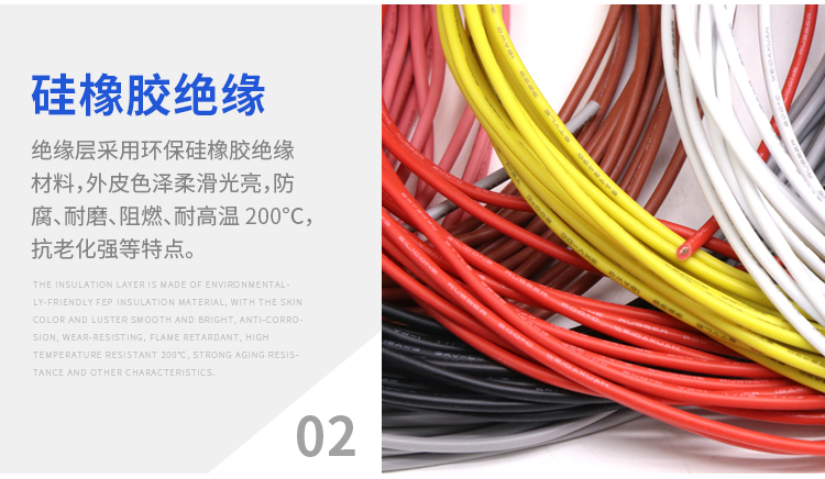 UL3239 Flexible Silicone Stranded Cable 22 AWG Electrical Wire 3KV 200°C 8-Color