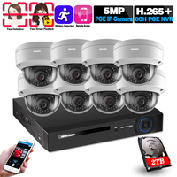 H.265+ 8CH CCTV System 5MP POE NVR Kit Face Detection Outdoor Waterproof IP66 Security 5MP POE IP Camera Video Surveillance set