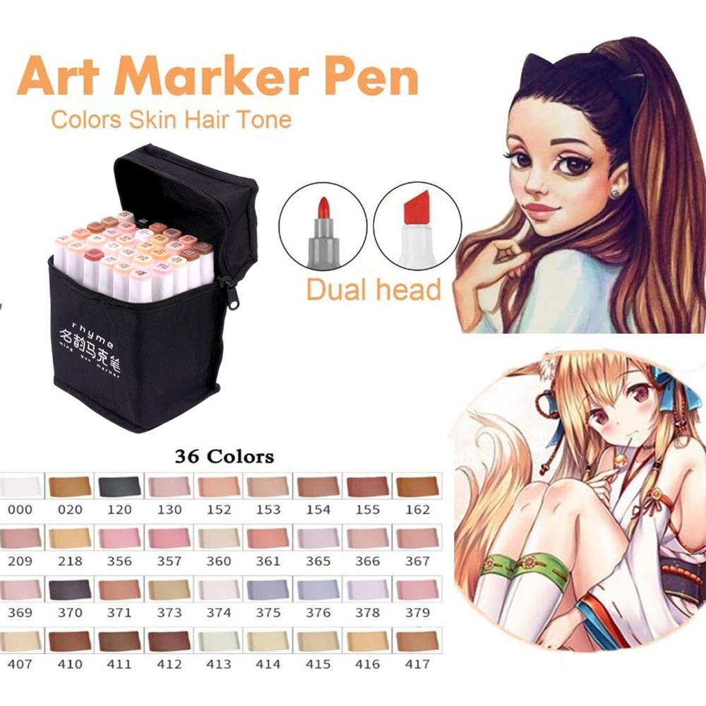 36 Color Markers Skin & Hair Tones Dual Tip Set - Double-Ended Art Markers With Chisel Point And Round Head Tip