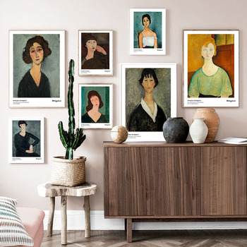 Amedeo Modigliani Art Figure Abstract Painting Vintage Canvas Poster Wall Art Print Decorative Picture Modern Home Decoration image