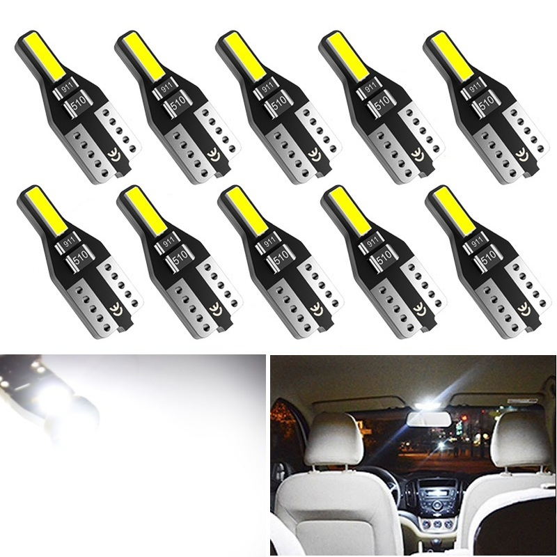 10pcs For Nissan Leaf Note Juke Qashqai J10 Teana J32 Primera P12 Pathfinder T10 W5W LED Bulb Car Interior Reading Lights Bulbs