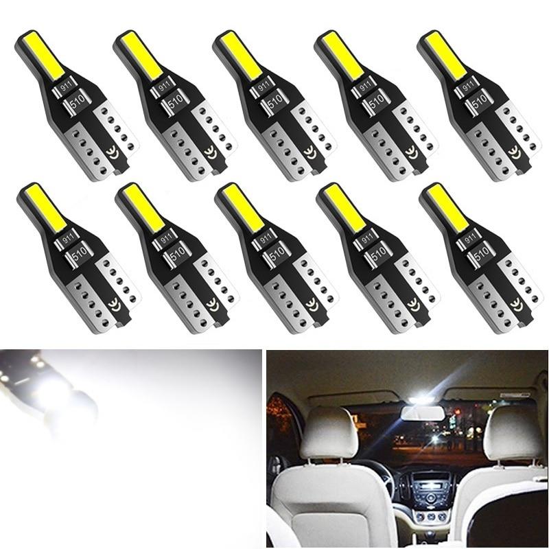 10pcs For Nissan Leaf Note Juke Qashqai J10 Teana J32 Primera P12 Pathfinder T10 W5W LED Bulb Car Interior Reading Lights Bulbs