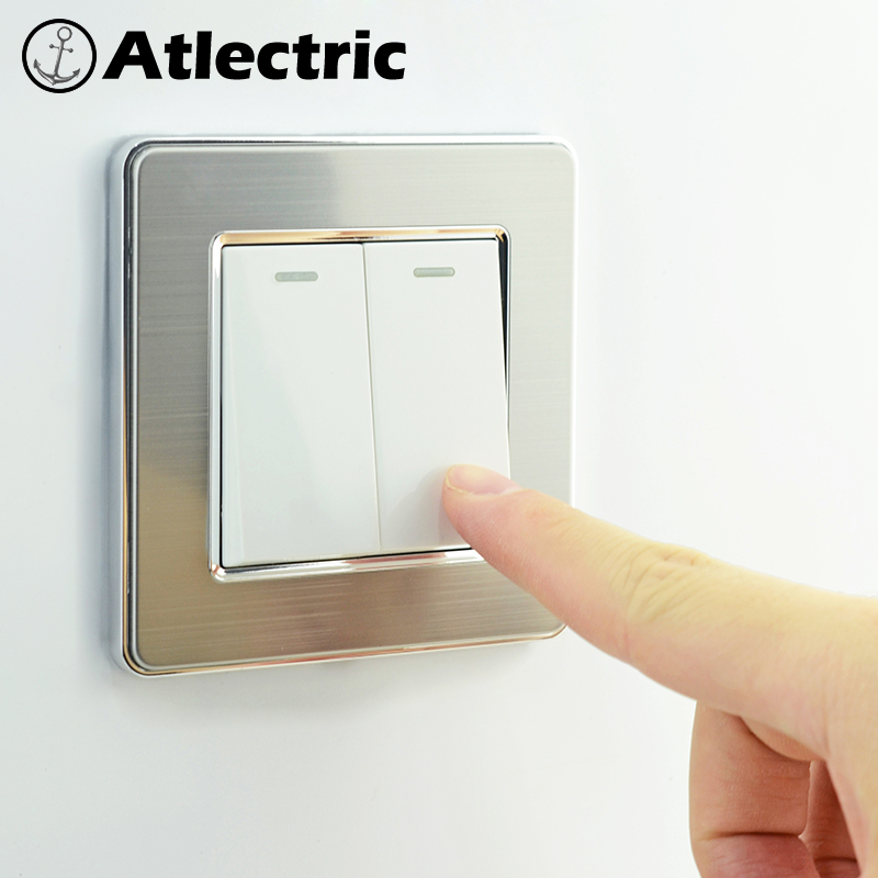 Atlectric 1 2 3 4 Gang 1 2 Way Button Light Switch Stainless Steel Panel Switch Socket EU FR French Light Socket Lamp Light