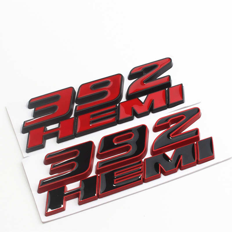 2Pcs ABS Black 6.4L HEMI Emblem Body Badge Decal Sticker Dodge Ram Charger Jeep