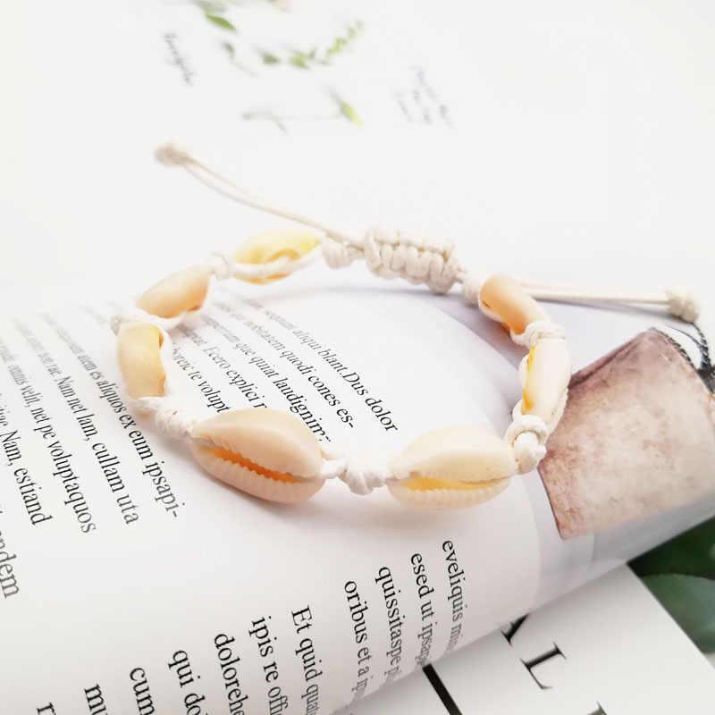 Nowa moda spersonalizowane kreatywne ręcznie naturalne muszla ręcznie muszle bransoletki dla kobiet mężczyzn zroszony Strand plażowe obrączki prezent