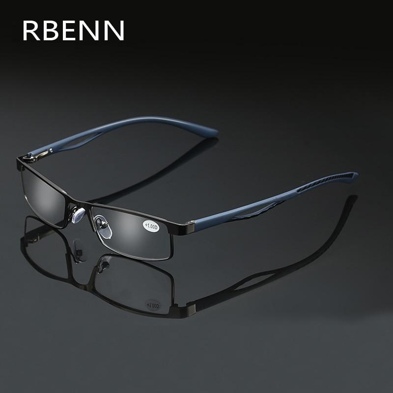 Очки для чтения RBENN в металлической полуоправе для мужчин и женщин, аксессуар для работы при пресбиопии, + 1,5 1,75 2,25 2,75 3,25 3,75 5,0