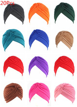 20Pcs 24 Colors Muslim Turban Caps Women Elastic Stretchy Beanies Hats Bandanas Big Satin Bonnet Indian