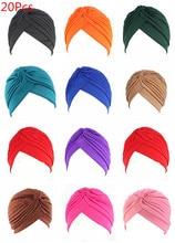 20Pcs 24 Farben Muslimischen Turban Kappen Frauen Elastische Stretchy Beanies Hüte Bandanas Großen Satin Motorhaube Indische