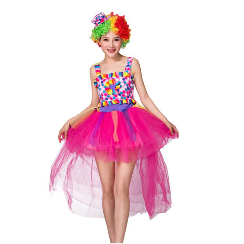 Halloween Sexy Fantasy Clown Dress Funny Circus Princess Cosplay Costumes Women Carnival Party Rainbow Performance Clothes Adult