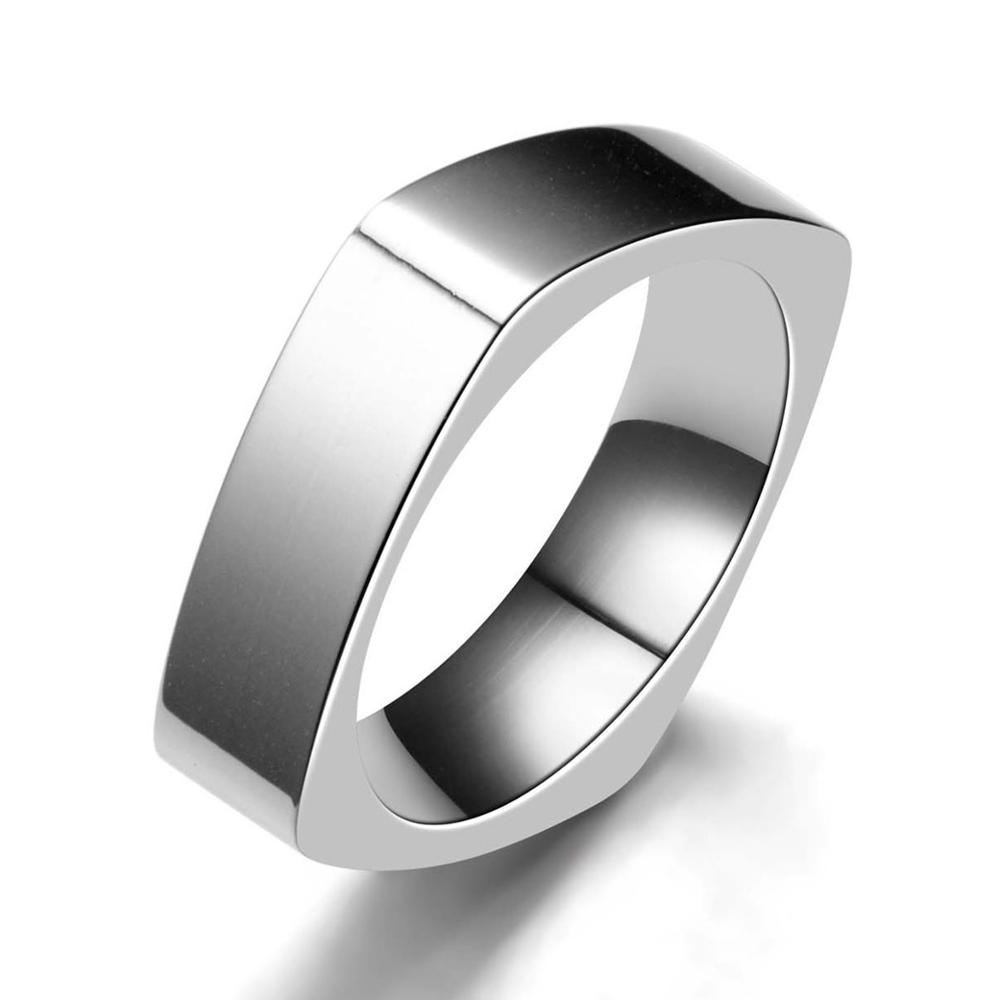 Hot Stainless Steel Lover Couple Ring Men Square Titanium Rings For Women Fashion Wedding Engagement Party Jewelry OC35