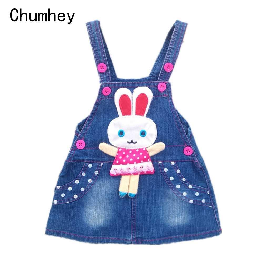 Chumhey 1-4T Cho Bé Gái Sundress Mùa Hè Suspender Đầm Áo Liền Quần Trẻ Em Jean Denim Thỏ Trang Phục Đồ Quần Áo Bebe quần Áo