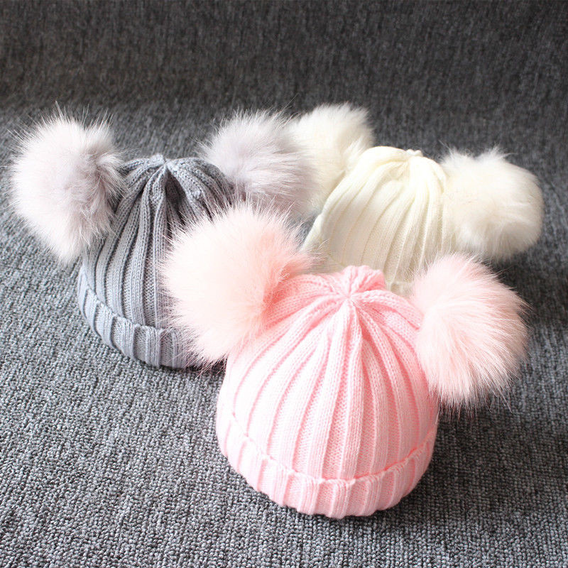 Winter-Warm-Baby-Hat-Double-Furry-Ball-Pompom-Children-s-Cap-Solid-Knit-Cap-For-Girls
