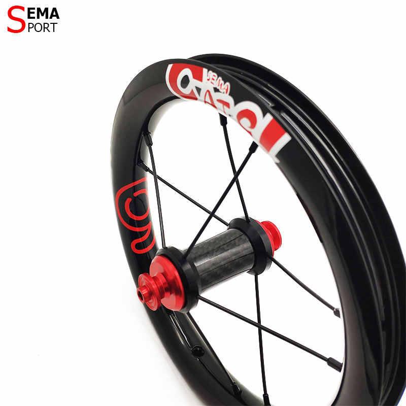 Roues en carbone semaCATE-9 12 pouces 203 roues en carbone pour enfants balance vélo/agitateur/pousser vélo super léger jantes en carbone meilleur