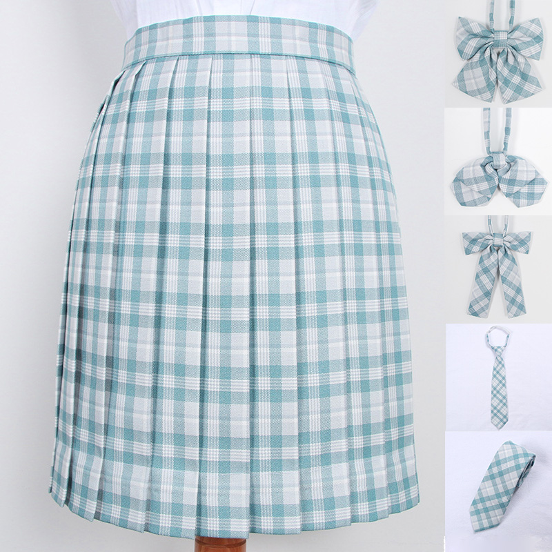 School Dresses Cute Light Blue Plaid Pleated Skirt High Quality JK Uniform Skirt Students Cosplay Anime Sailor Suit Short Skirts