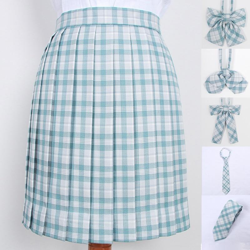 School Dresses Cute Light Blue Plaid Pleated Skirt High Quality JK Uniform Skirt Students Cosplay Anime Sailor Suit Short Skirts