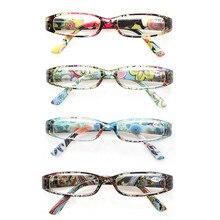Fashion Women Flower Rectangular Clear Lens Reading Glasses