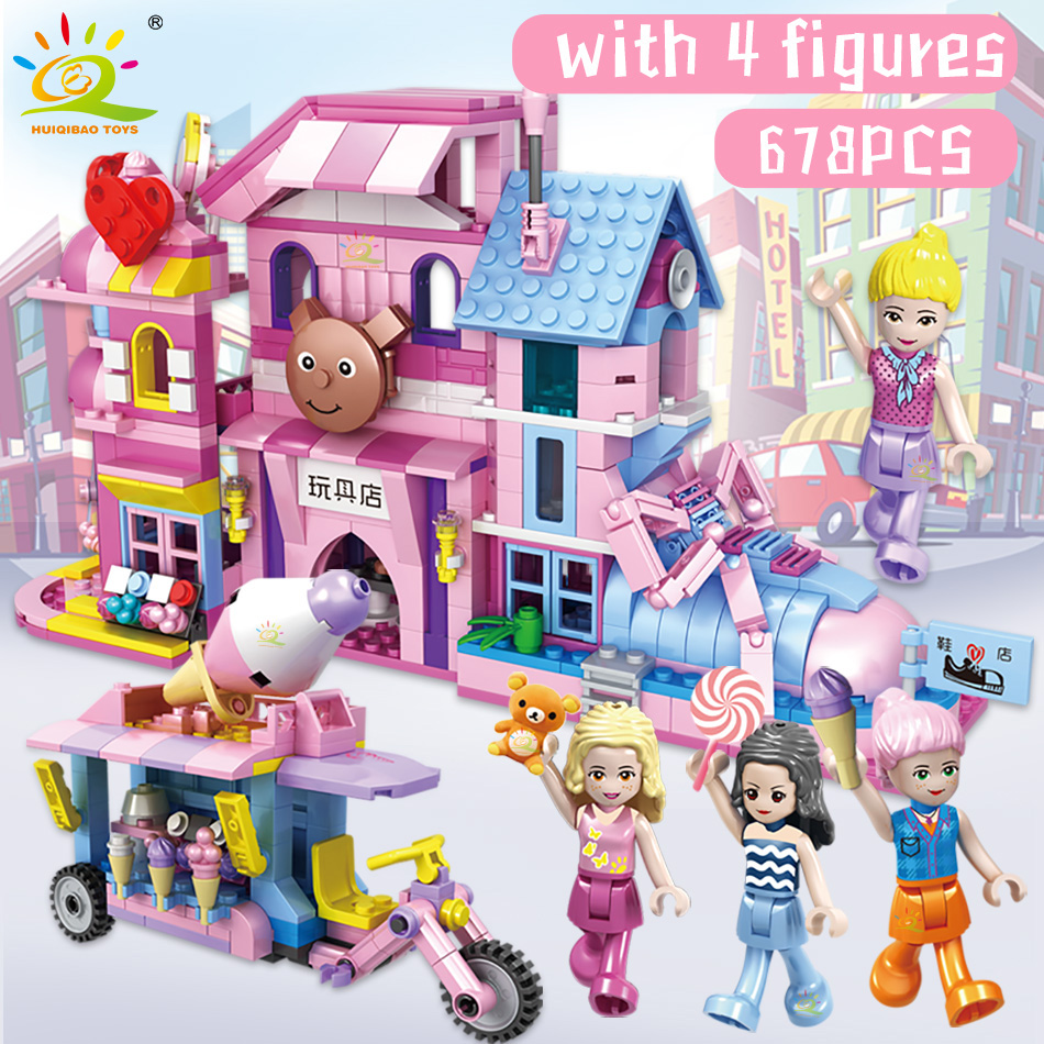 HUIQIBAO 678Pcs City Shoemaker Toy Store Bricks Street View Building Blocks Girl Friends Figures Tricycle Toys For Children | Happy Baby Mama