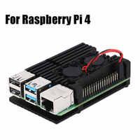 Caso de alumínio armadura de liga com dissipador de calor refrigeração ventilador duplo para raspberry pi 4 modelo b