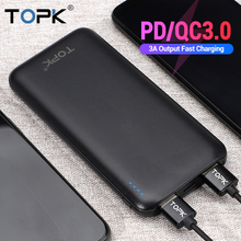 TOPK 10000mAh Power Bank 18W USB Type C External Batteries QC3.0 PD Tw