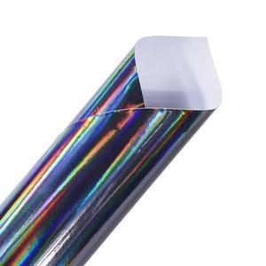 Image 4 - Holographic Laser Chrome Black Car Stickers Car Interior Body Wrap Vinyl Film Sheet Black with Rainbow Decals