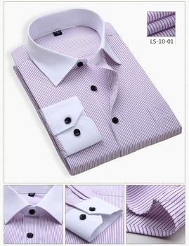 LISIBOOO 2019 Fashion Striped Men Dress Shirt White Collar Design Spring Long Sleeve Business Men Casual Shirt Work Shirts Male