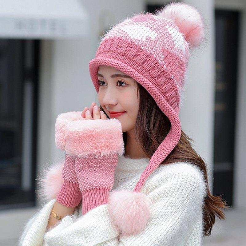 HT2685 Thick Warm Winter Accessories Women Knitted Rabbit Fur Hat Gloves Set Lady Ear Flap Cap Scarf Women Windproof Winter Set