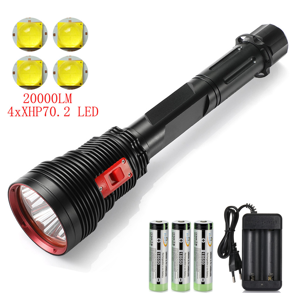 New Ultra Bright Underwater Waterproof Diving Flashlight 100 watt 4XHP70.2 LED torch Professional Scuba Dive Light