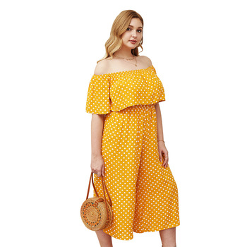 Yellow Jumpsuit Women Summer Sexy Off Shoulder Short Sleeve Wide Leg Jumpsuit Woman Casual Polka Dot Print Rompers Plus Size 4XL damaizhang yellow 4xl