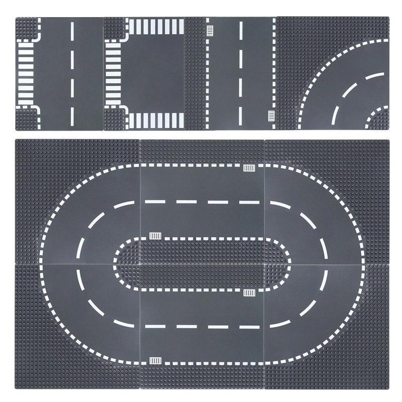 1pc City Road Street Baseplate T-Junction Straight Crossroad Curve Building Blocks Base Plate Construction For Car Toys