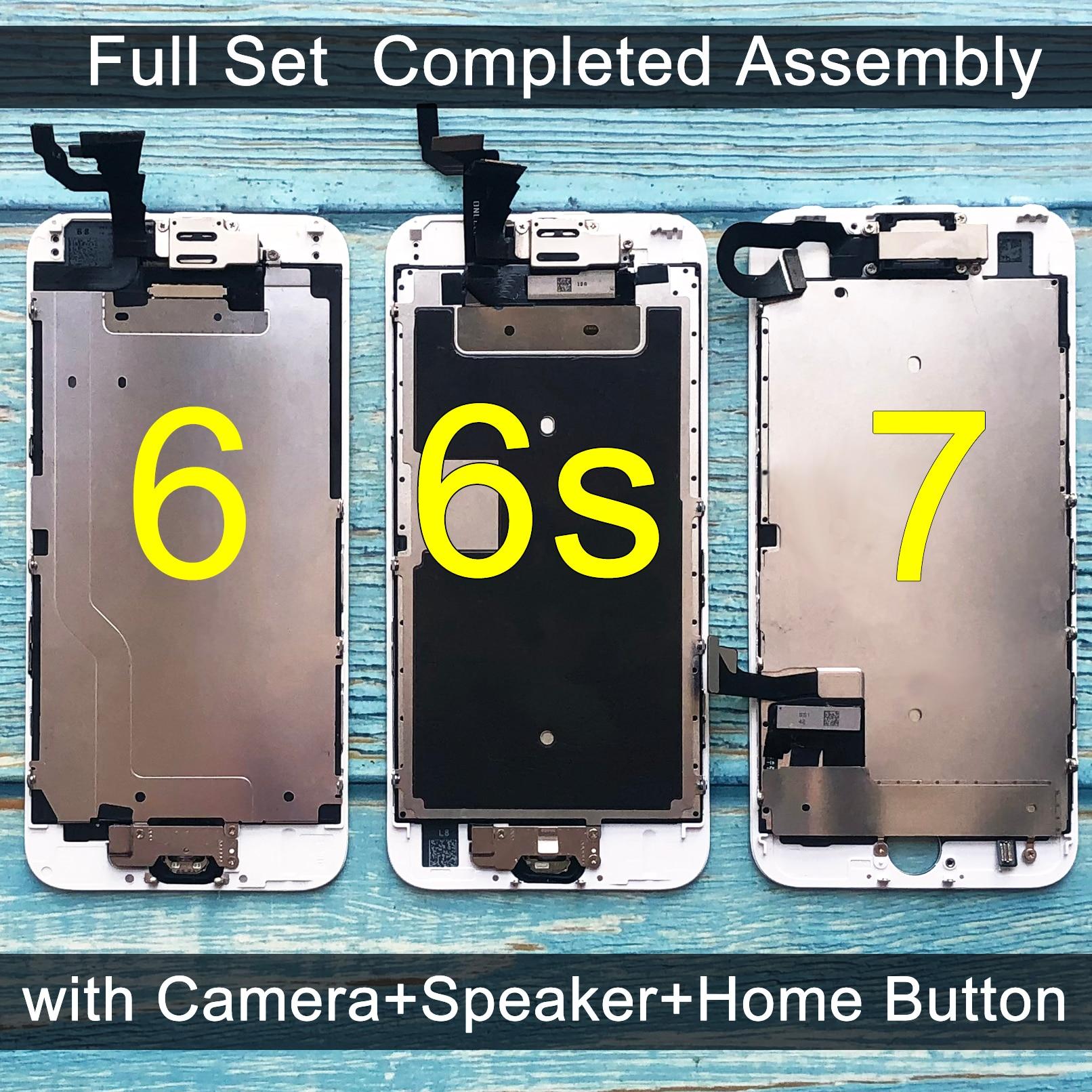 Tela lcd com touch para iphone, display de reposição completo, com câmera de iphone 6, 6 s, 7 + botão início