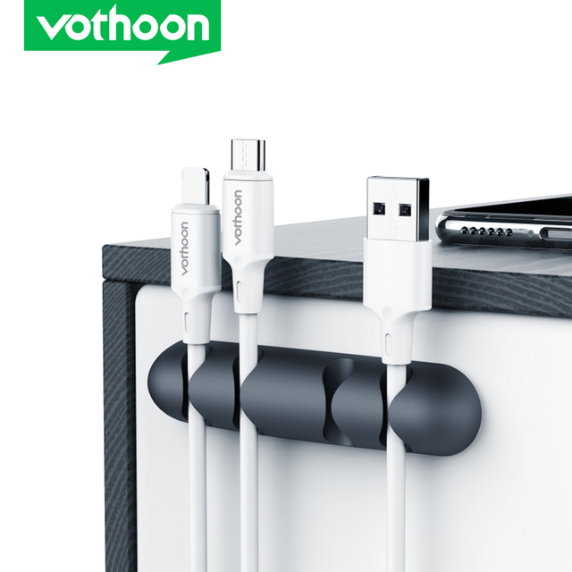 Vothoon Cable Organizer Silicone USB Cable Winder Flexible Cable Management Clips Cable Holder For Mouse Headphone Earphone 1