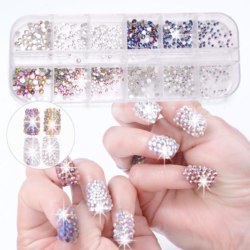 12 Boxes / Set of AB Crystal Rhinestone Diamond Gem 3D Glitter Dazzling Colours Nail Art Decoration Beautiful Girls 3