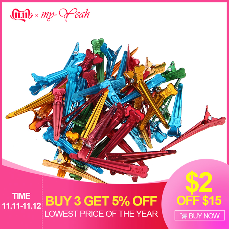 Approx 50Pcs Flat Metal Colorful Fix Section Holding Hair Clips DIY Alligator Accessories Hairdressing Hair Styling Tool