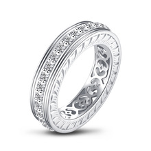 QYI Halo ring Simulated diamond Female Wedding Rings 925 sterling Silver Women Engagement Jewelry