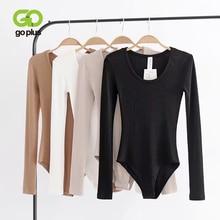 GOPLUS Bodysuit Women Sexy Club Long Sleeve Skinny Playsuits O-neck Bodysuits Monos Body Mujer Top Femme Manche Longue C10824