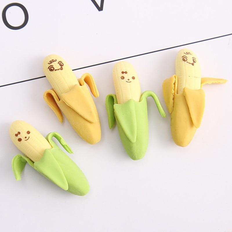 6pcs Banana Correction Rubber Eraser For Pencil Erasing Correcting Novelty Erasers Stationery Office School Student A6414